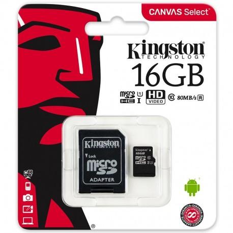 KINGSTON microSDHC 16GB UHS-I CLASS10 c/ Adaptador
